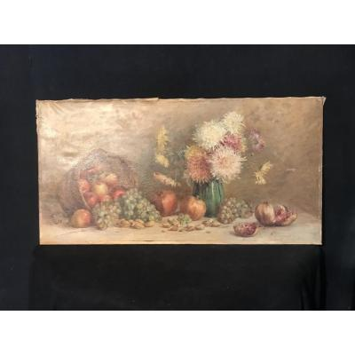 Still Life With Flowers And Fruits By Marie Antoinette Queroy