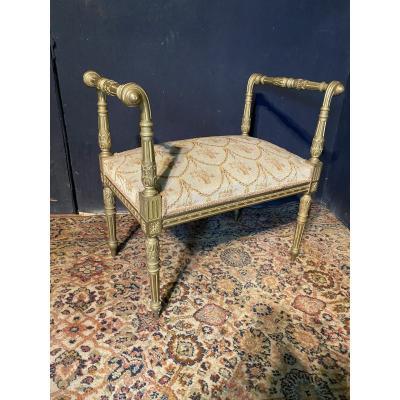 Banquette De Piano en bois dorée