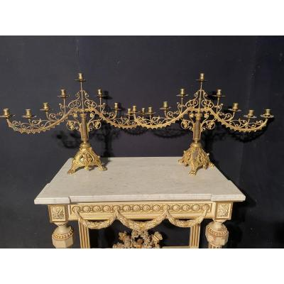 Pair Of Large Church Candelabra In Gilt Bronze