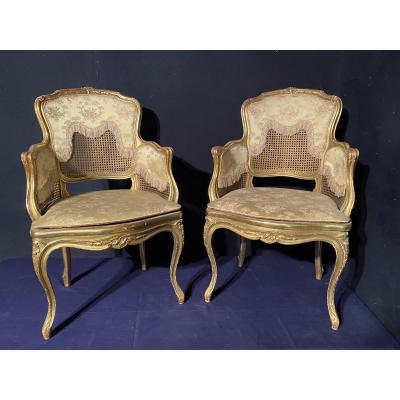 Pair Of Golden Wood Bergères Louis XVI Style