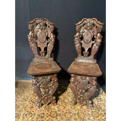 Pair Of Renaissance Style Escabelle Chairs