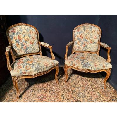 Pair Of Louis XV Style Armchairs Covered With Aubusson Tapestry