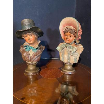 Pair Of Bust Of Young Child By Goldscheider