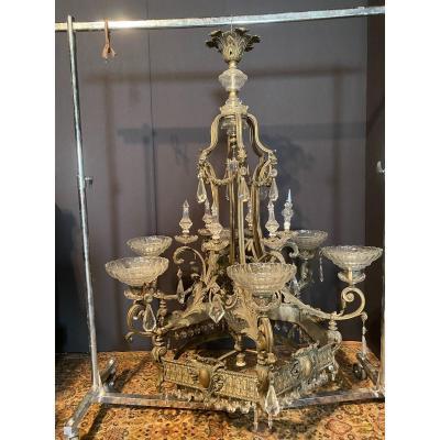 Important Lustre De Château En Bronze
