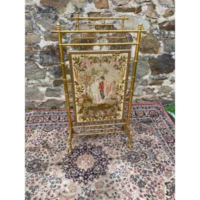 Golden Wood Fireplace Screen