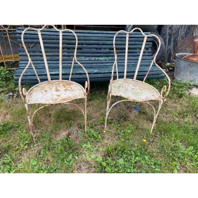 Pair Of 19th Century Wrought Iron Garden Armchairs