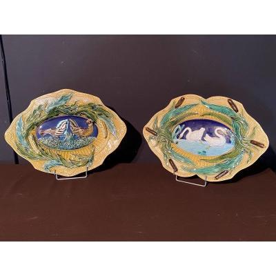 Pair Of Plates In Barbotine