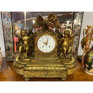 Important Gilt Bronze Clock From Louis XVI Period