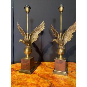 Paire De Lampes En Bronze à Décor D'aigles