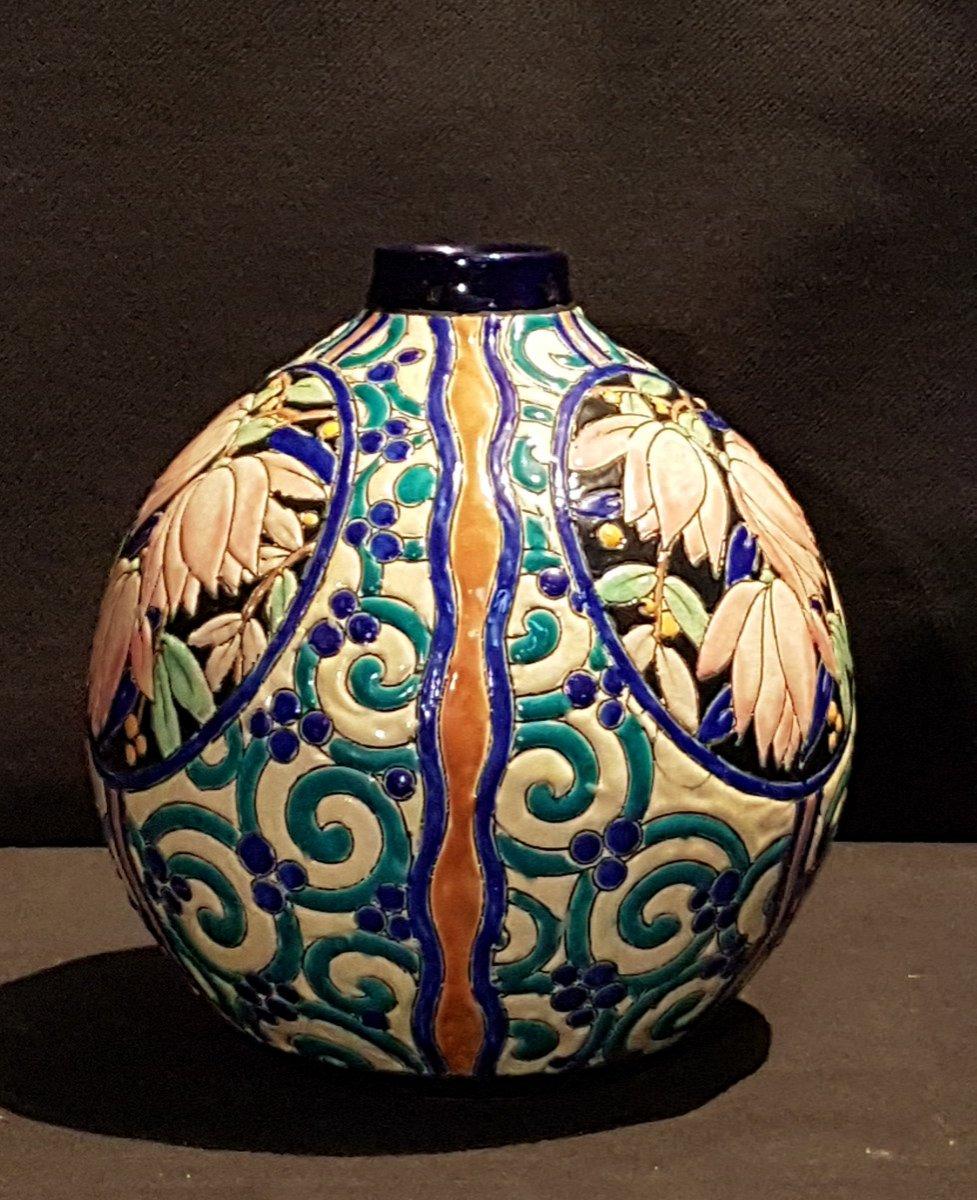 Vase globulaire en faïence - Boch Keramis -photo-2
