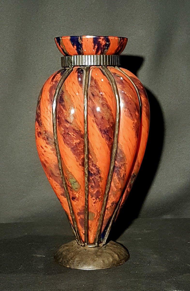Vase, Verrerie De Lorraine, Monture En Bronze