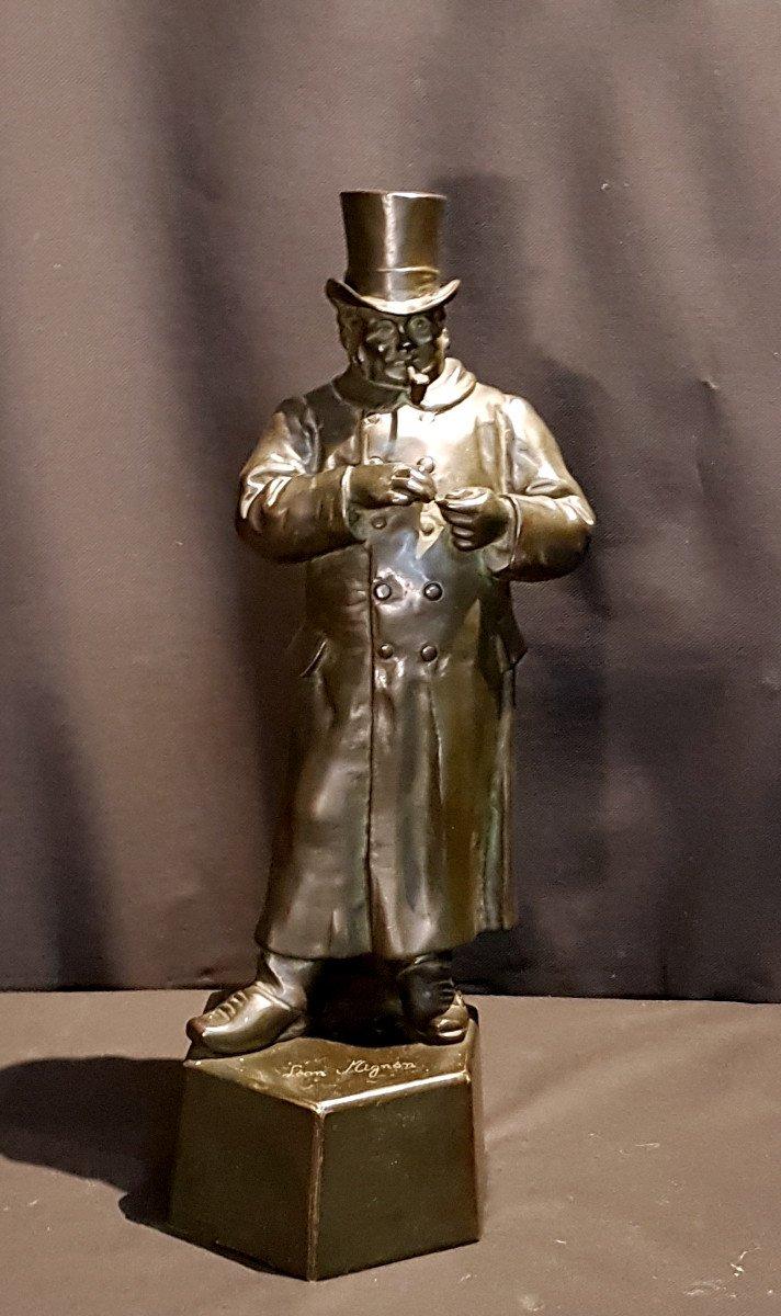 Le fumeur de Pipe, Bronze - Léon Mignon