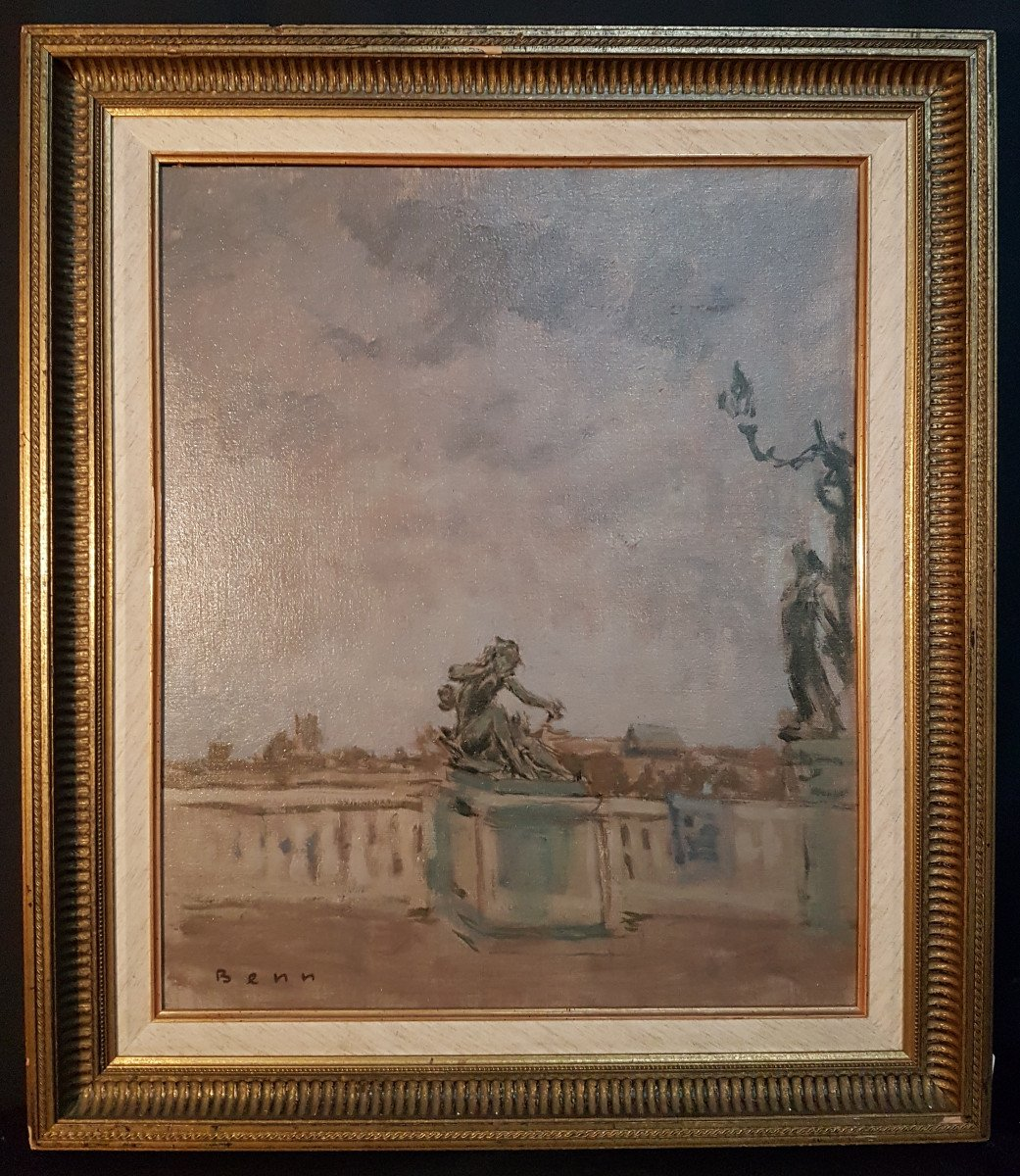 Monument Au Coeur de Paris, Huile Sur Toile Marouflée Sur Carton - Benn. Rabinowicz Benejou