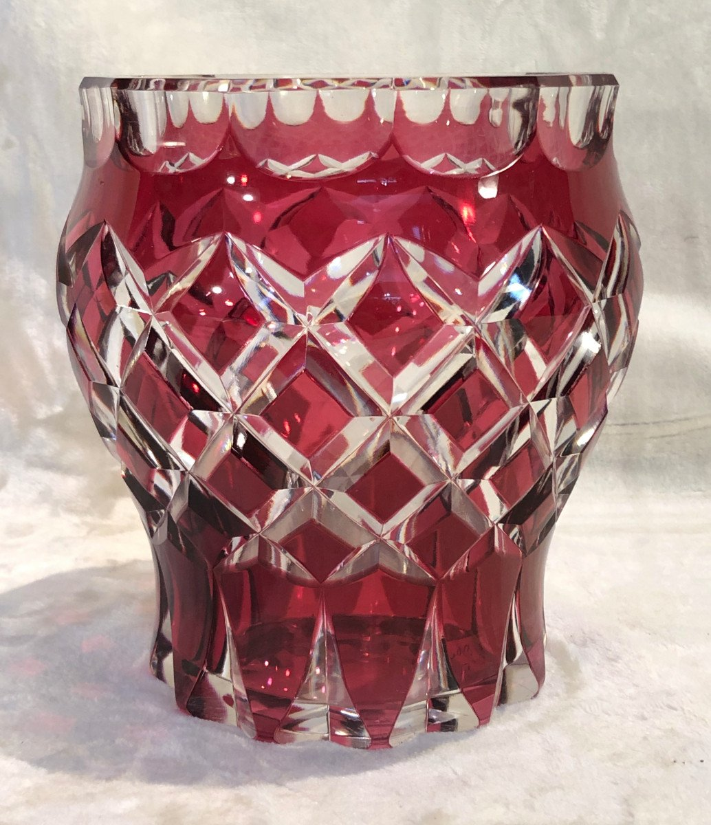 Crystal Vase - Val Saint Lambert - Red - Art-deco - 16 X 18cm