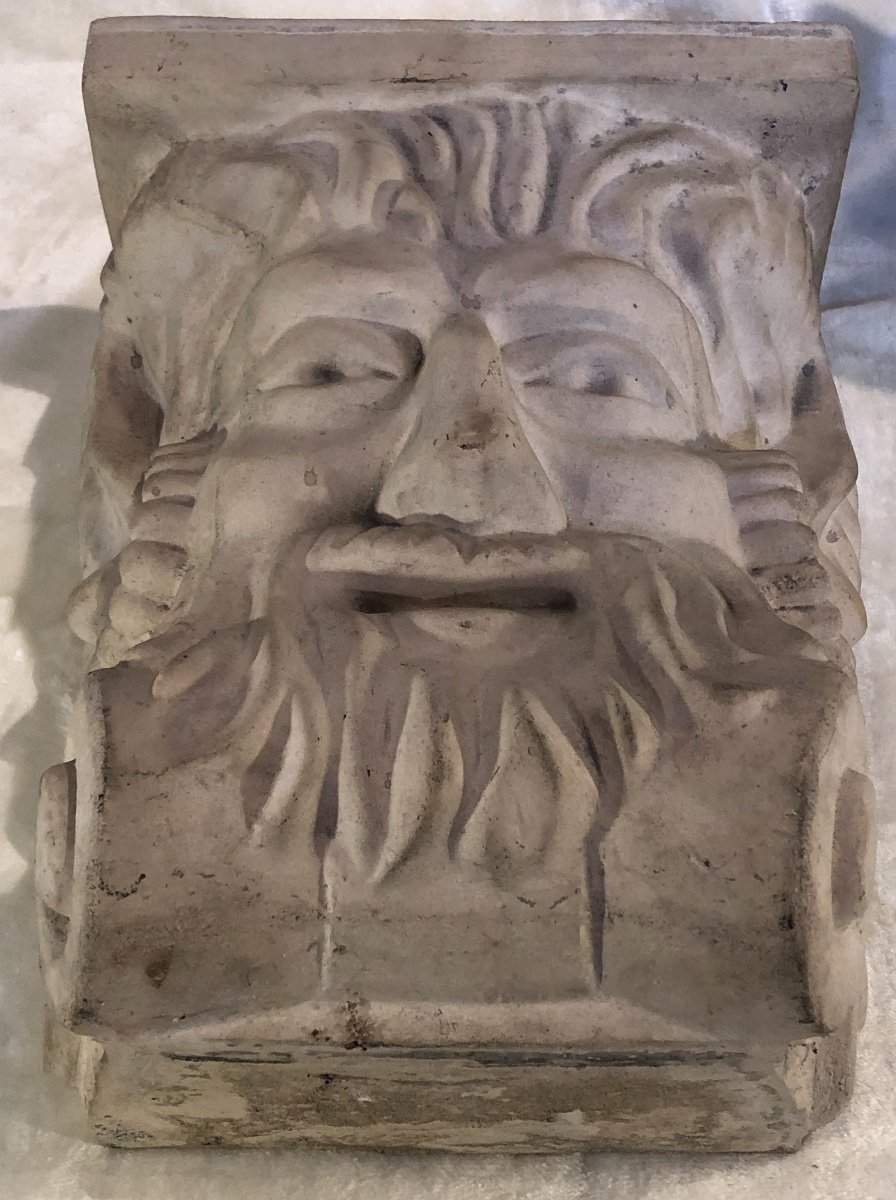 2 Stoneware Plinths - Attributed To Guerin - Stylized Bachus Head - 15x24x31 Cm-photo-1