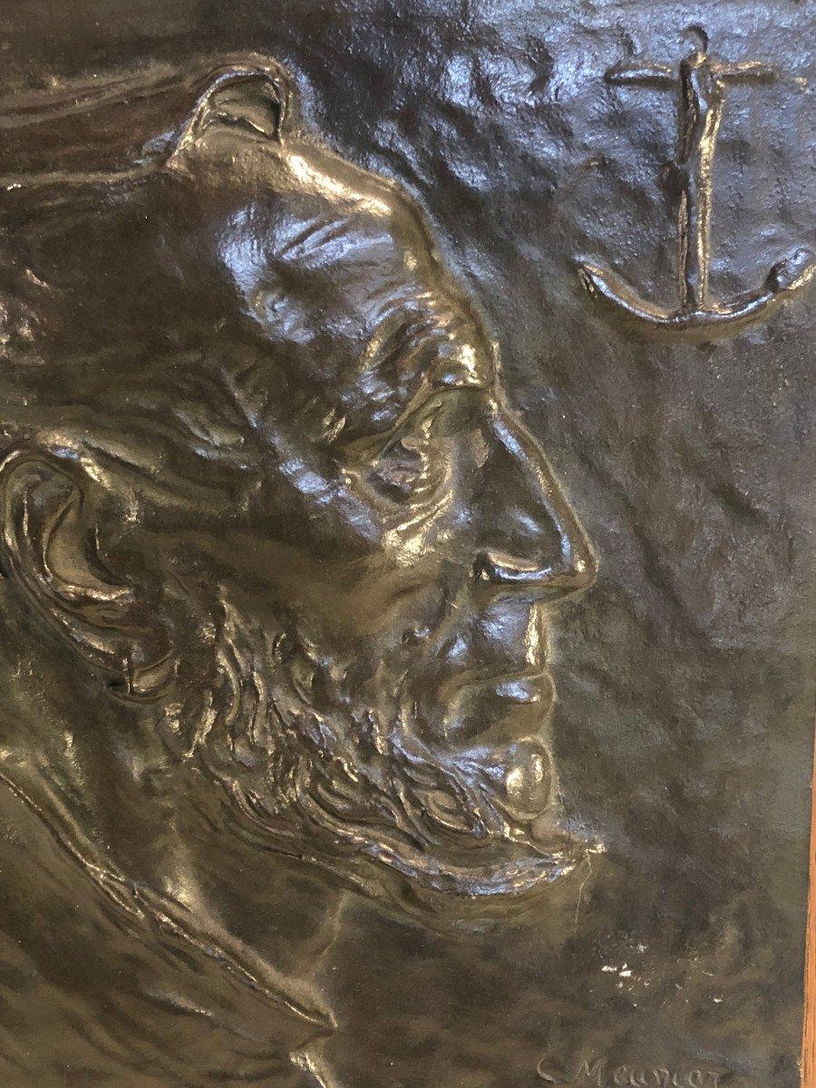 Plaque En Bronze Sur Bois - Constantin Meunier - Portrait De Profil d'Un Pecheur - Dim. 29 X 26-photo-2