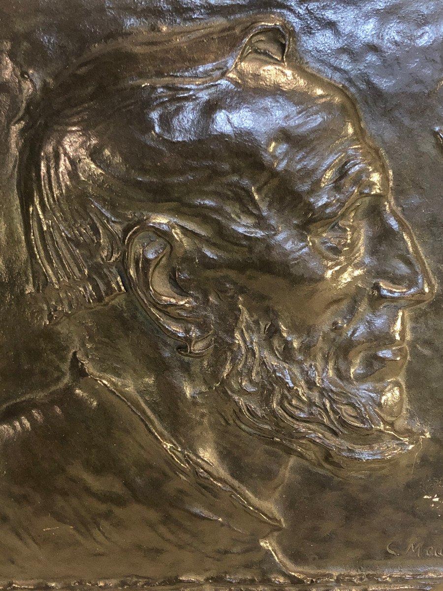 Plaque En Bronze Sur Bois - Constantin Meunier - Portrait De Profil d'Un Pecheur - Dim. 29 X 26-photo-3