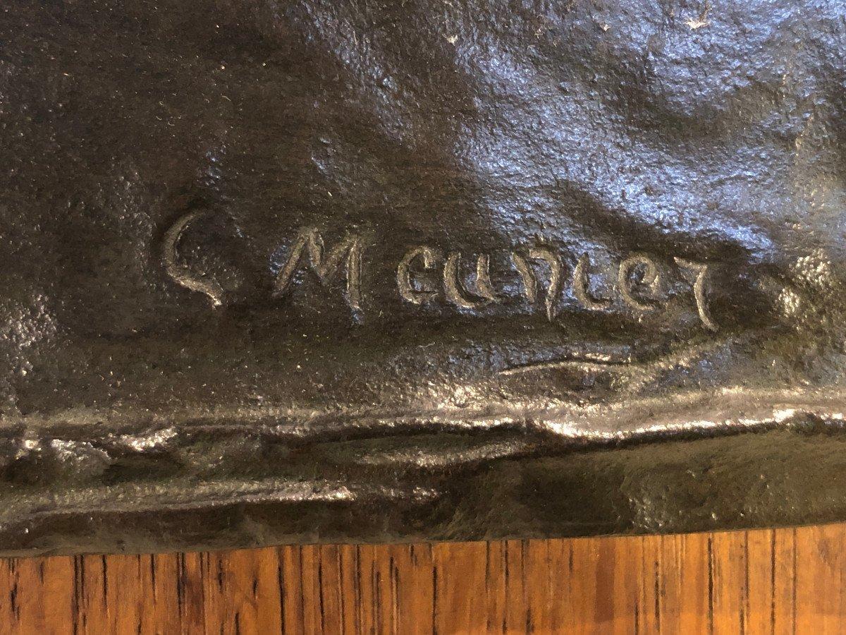 Plaque En Bronze Sur Bois - Constantin Meunier - Portrait De Profil d'Un Pecheur - Dim. 29 X 26-photo-4