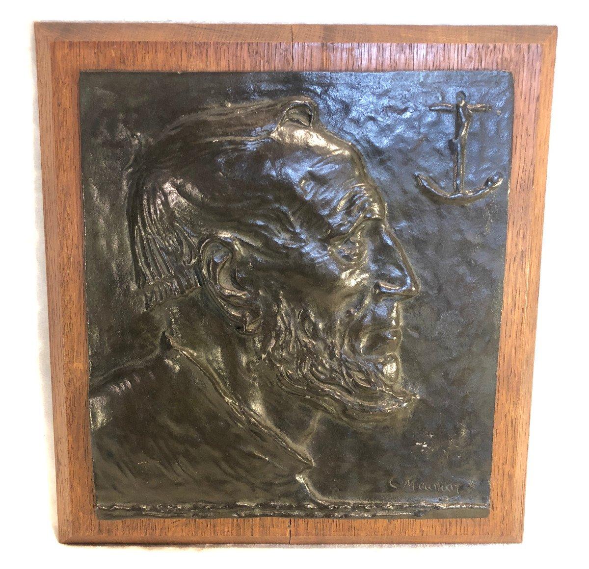 Plaque En Bronze Sur Bois - Constantin Meunier - Portrait De Profil d'Un Pecheur - Dim. 29 X 26