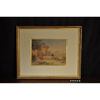Watercolor Orientalist Alphonse Birck