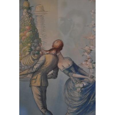 La baiser du dessert, aquarelle - Jean Droit