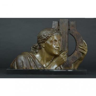 Lyre Player, Bronze Art Deco Emile Louis Bracquemond