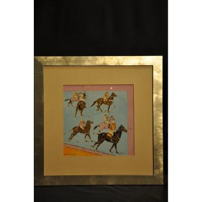 Polo Scene. Watercolor And Ink. Edgar Wiethase