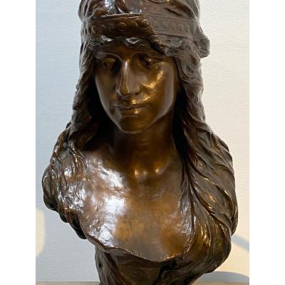 Buste d'Une Femme Orientale, Bronze - Albert Hambresin