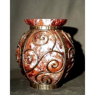 Vase, Lorraine Glassware, Bronze Mount