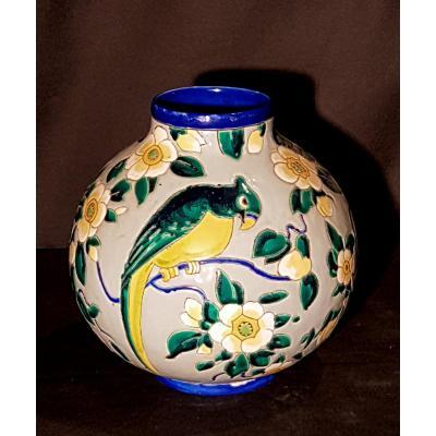 Globular Earthenware Vase, Boch Keramis - Charles Catteau