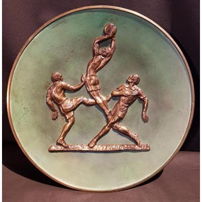 Plat Football Players, Artistic Bronze - Awarded To Pierre Le Faguay
