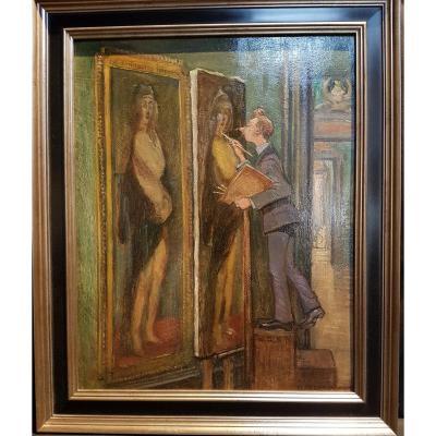 Le Copiste, Huile Sur Carton - Bertha Czegka Peintre Autrichien