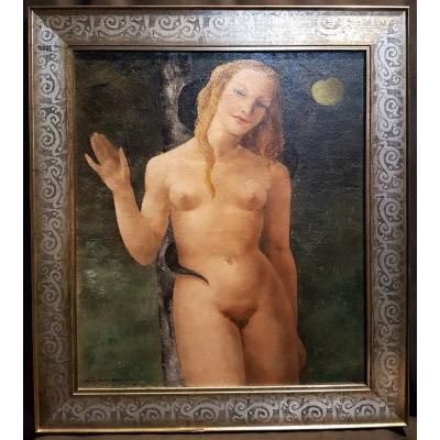 Eve Et Le Serpent, Huile Sur Toile, 1938 - Denise Perrier Berche
