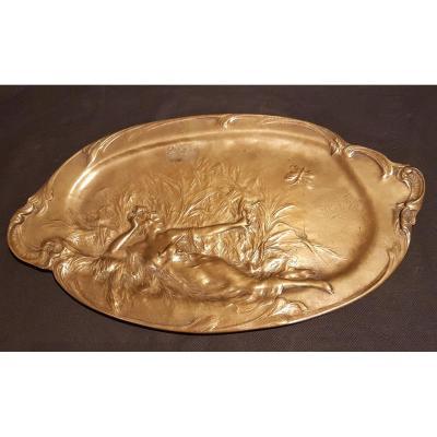 Imposant Plat en Bronze Doré - Anton Nelson Art Nouveau Ecole Belge