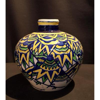 Vase Globulaire En Faïence - Boch Keramis, Charles Catteau