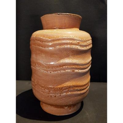Vase Cylindrique En Faïence, Décor Moucheté, Art Déco - Boch Keramis