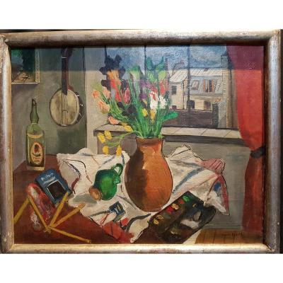 Nature Morte sur scène d'atelier, Huile Sur Toile, 1943 - Marcel Basler
