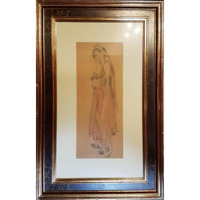 Femme Orientale, Crayon Et Aquarelle - Van Biesbroeck