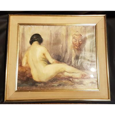 Nude In A Mask, Oil On Canvas, 1928 - Jos Desmedt