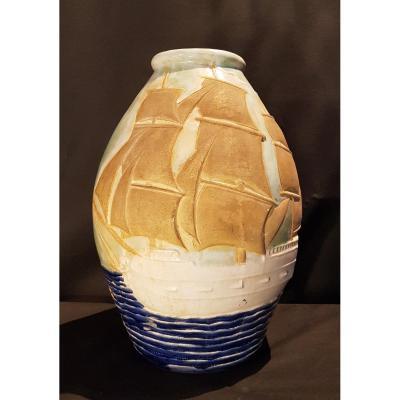 Vase En Faïence, Voiliers - Jean Van Dongen