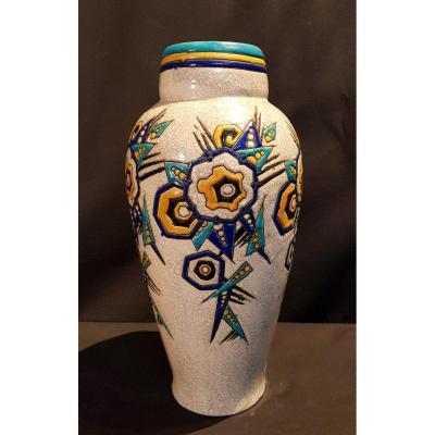 Vase En Faïence, émaux Cloisonnés - Boch Keramis