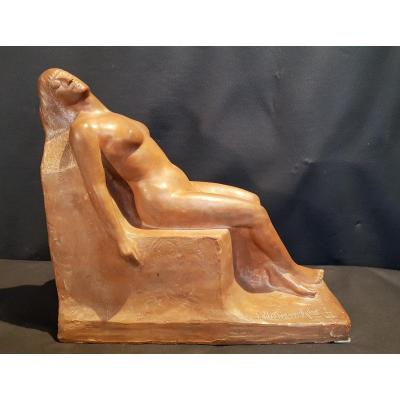 Sleeping Woman, Terracotta - Joseph Wutterwulghe