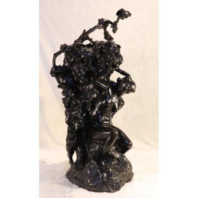 Auguste Puttemans - Grand Bronze Avec 3 Points De Lumières - Bachus