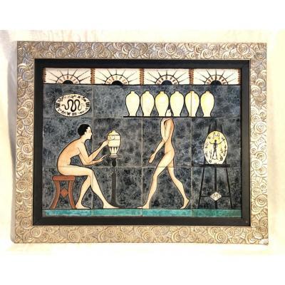 Plaque De Céramique Art Deco- 45x60cm - Atelier d'Artiste - Signé Jmg