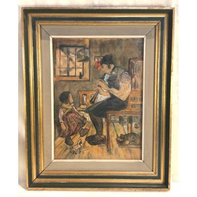 Ignatius Taschner - l'Hiver Au Foyer - Aquarelle - 22 X 30cm