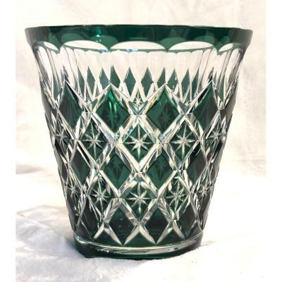 Crystal Vase - Val Saint Lambert - Green - Art-deco - 14 X 15cm