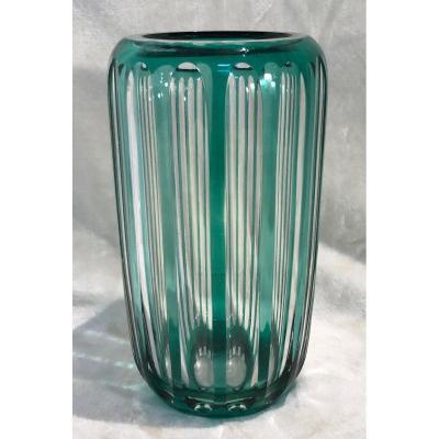 Vase En Cristal - Val Saint Lambert - Vert - Art-déco - 11 X 21cm