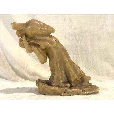 Paul Gaston Deprez - Sculpture En Cire - Femme Portant Une Grande Cruche - 13x27x28cm