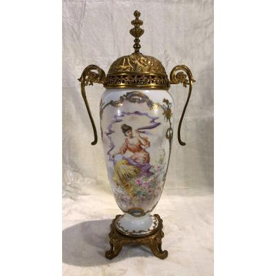 Vase With A Base And The Top In Bronze - Romantic Decor - H. 46cm
