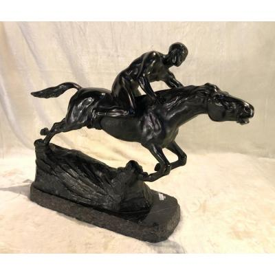 Sculpture - Splieth - Homme à Cheval - Bronze - 1919 - 17 X 47 X 47cm
